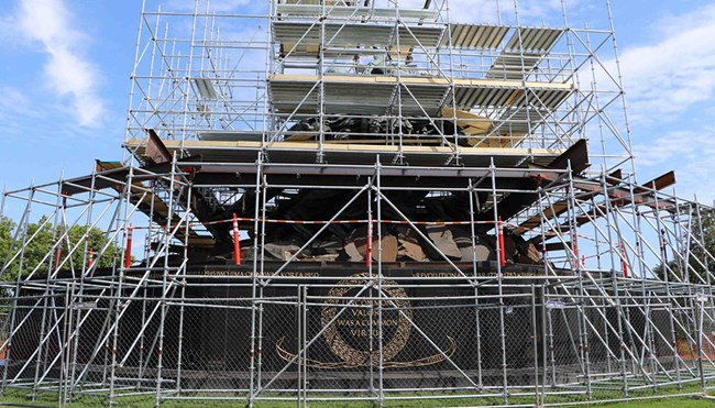 scaffolding surrounds the U.S. Marine Corps War Memorial