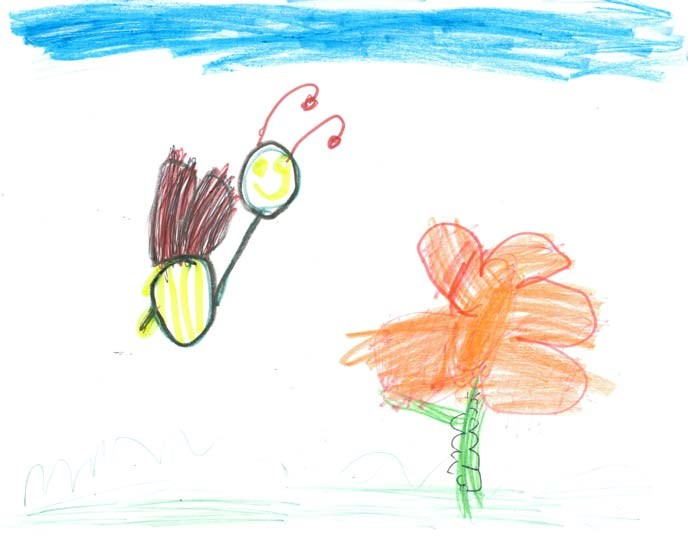 A child's drawing of a smiling bee, an orange flower, and a blue sky.
