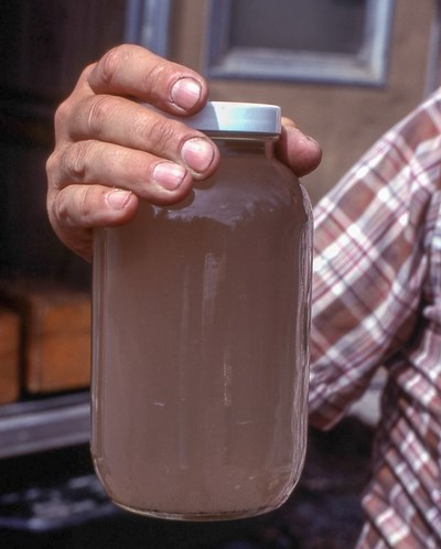Man holding jar filled with brown tinted water