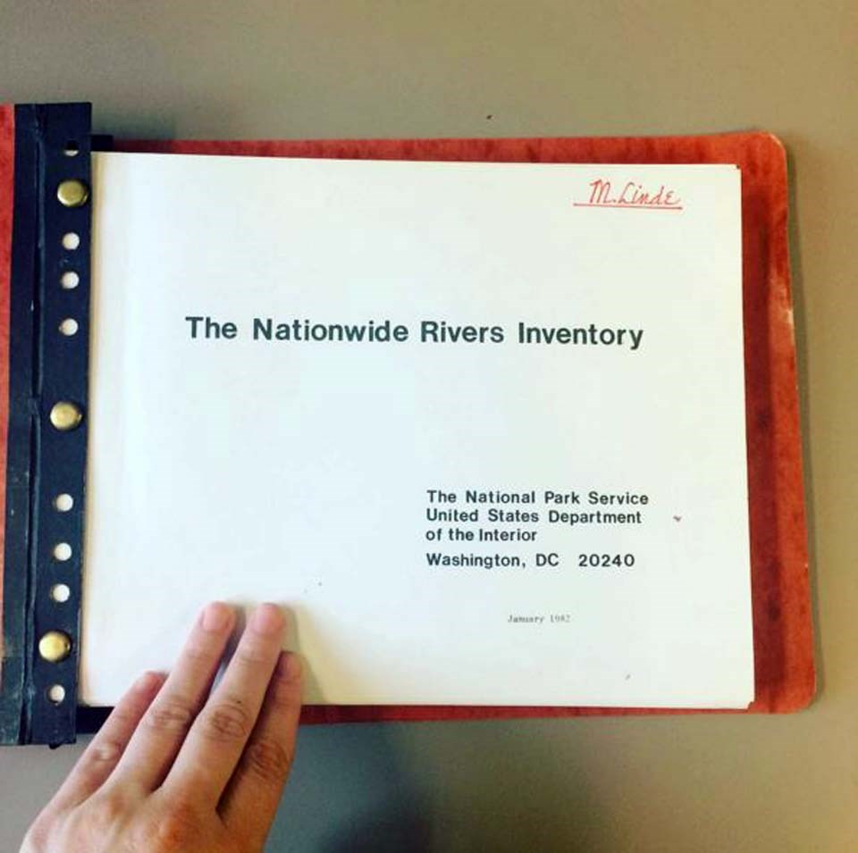 Paper version of the original Nationwide Rivers Inventory, showing printed cover