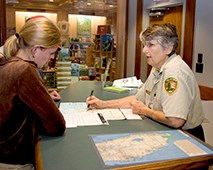 Volunteer answering questions at the Visitor Center in Everglades National Park