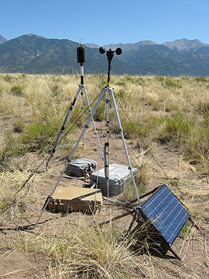 Microphone, weather station, and solar panel in dry landscape with mountains in the background.