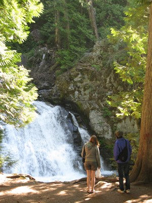 Two people stand in front of a large waterfall in the woods.