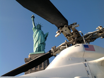 Helicopter and Statue of Liberty
