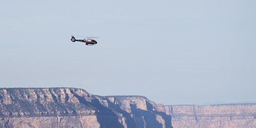 Helicopter in the sky above the Grand Canyon