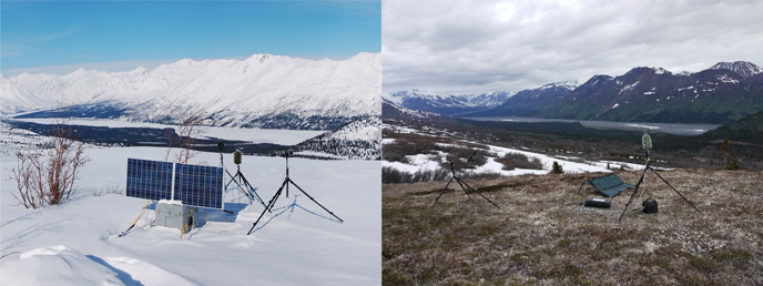 Two images of sound monitoring equipment on tripods with mountains in the background. One image is green summer, the other snowy winter.