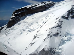 Avalanche in process at the Upper Ingraham Glacier, Mount Rainier, Washington