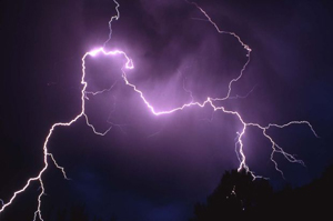 Lightning bolts charge the night sky - NPS photo