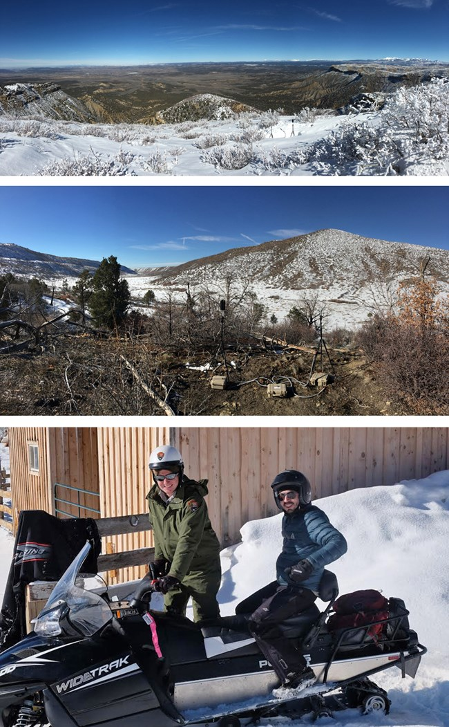 Composite collage of three photos at Mesa Verde National Park—two of wilderness locations, and one of a scientist and ranger on a snowmobile