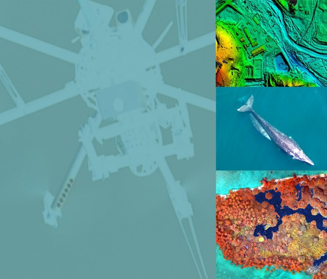 poster image shows ghosted drone and aerial images of land and a whale