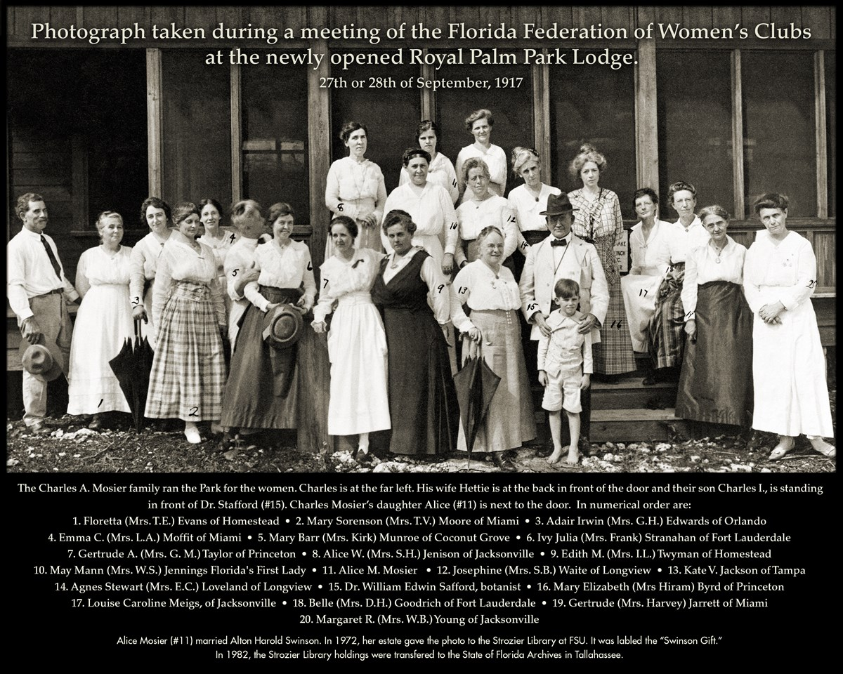 Photograph of the Florida Federation of Women's Club taken  at the newly opened Royal Palm Park Lodge