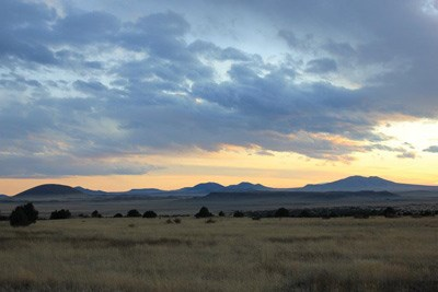 Grassland at sunset at Capulin Volcano National Monument