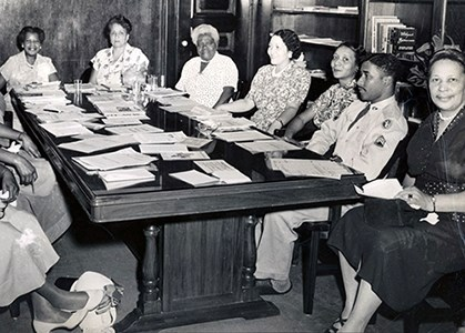 NCNW meeting in Mary McLeod Bethune Council House conference room of the Council House, ca. 1950.