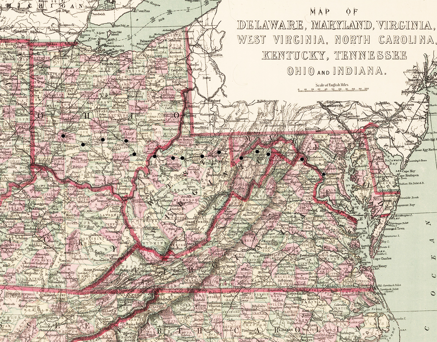 Map of Slave States in 1860 (JPG) for Teaching with Historic Places lesson plan about Colonel Charles Young
