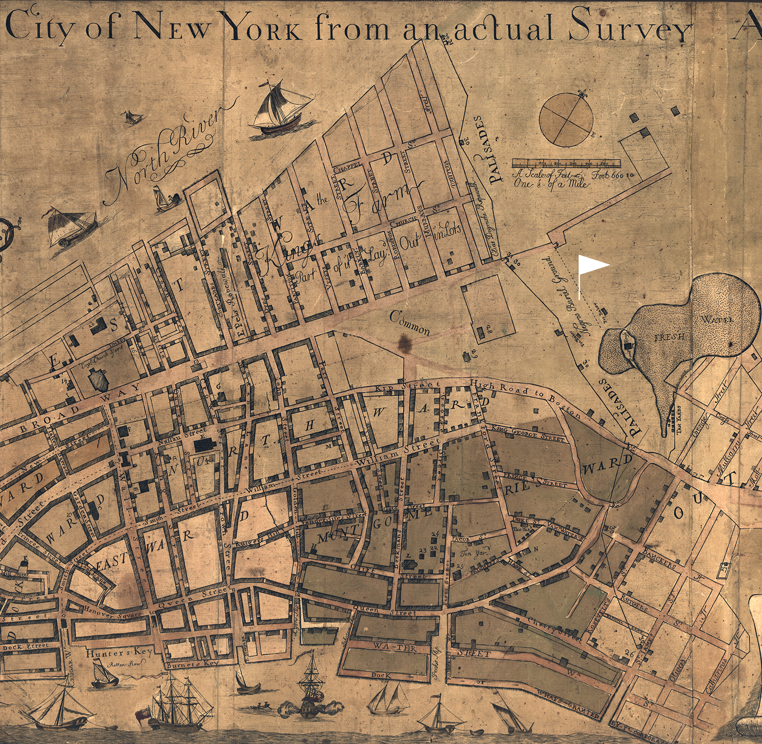 Map of the Plan of the City of New York, 1755 historical illustration (JPG) for Teaching with Historic Places lesson plan about African Burial Ground