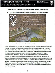 Cover of the African Burial Ground lesson plan from teaching with historic places
