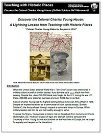 Cover image for Charles Young Buffalo Soldiers Lightning Lesson Plan shows photo of young and photo of his house and map image