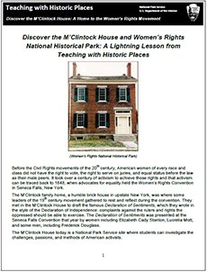 lesson plan, teaching with historic places, m'clintock house, women's rights