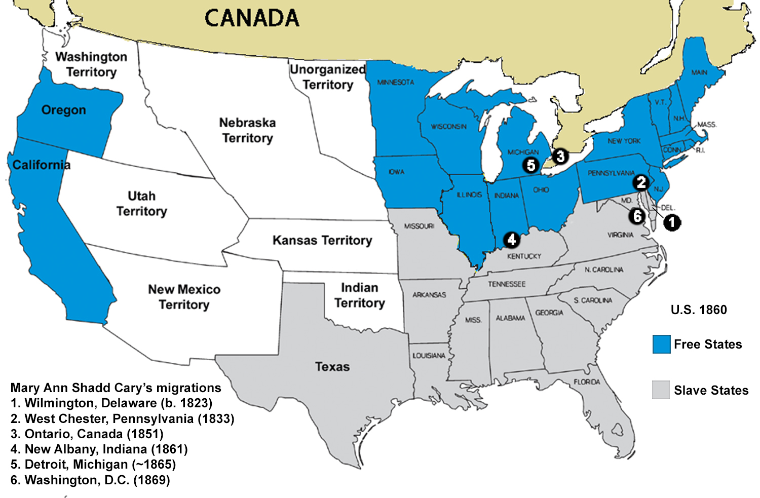Map of Slave States in 1860 (JPG) for Teaching with Historic Places lesson plan about Mary Ann Shadd Cary