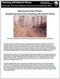 Cover of the PDF file for the Trail of Tears lesson plan published by Teaching with Historic Places