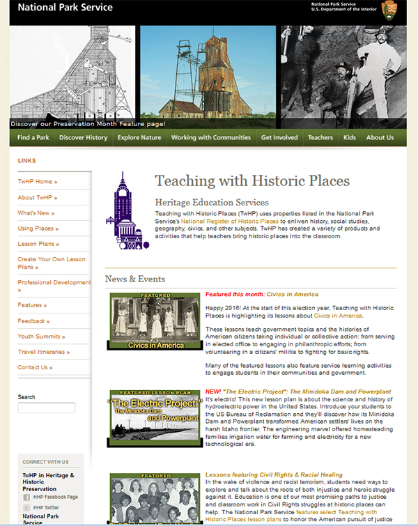 Image of the old Teaching with Historic Places website