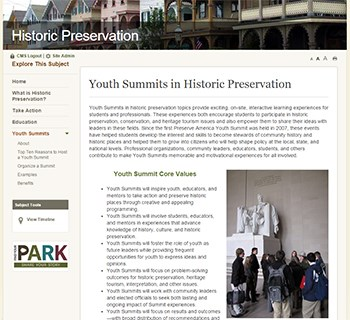 Youth Summits online resource at NPS.gov/historicpreservation