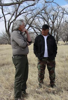 NPS staff and Cheyenne tribal members discuss using fire on the landscape.