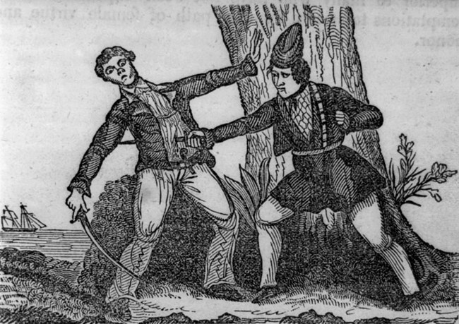 Pirate Mary Read killing an opponent. LoC Public Domain
