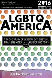 The cover of LGBTQ America: A Theme Study of Lesbian, Gay, Bisexual, Transgender, and Queer History with rainbow dots on a white background