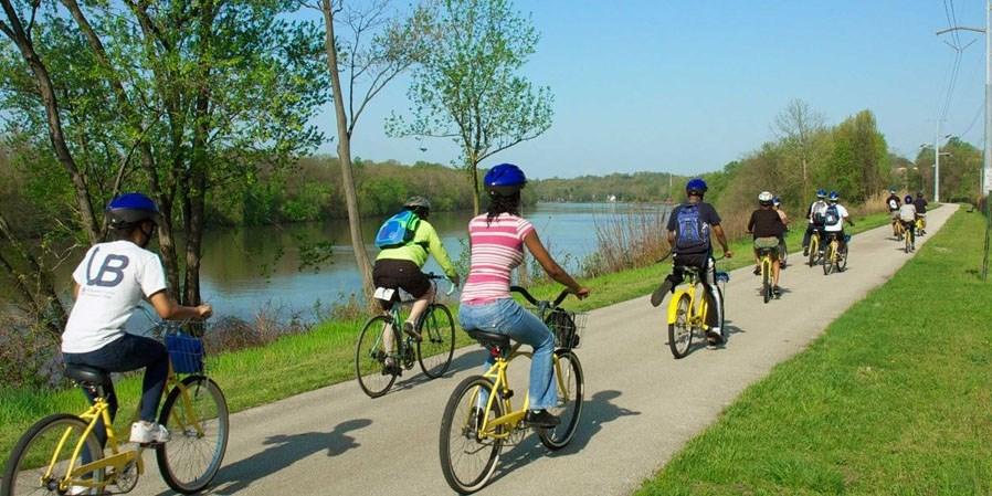 Crowded Spring Bike Path