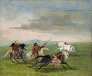 Comanche Feats of Horsemanship. George Catlin 1834.
