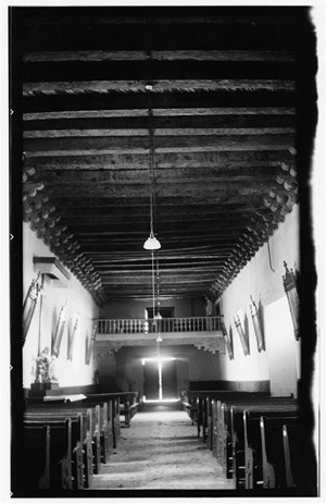View of the choir loft of Mission Socorro, 1936.