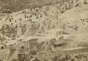 A view of the remains of the mission and surrounding buildings in the 1870s, showing local farmers and ranchers reoccupying the San José convento.