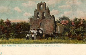 Postcard ca. 1901-1907. Mission San Francisco de Espada, San Antonio, Texas