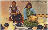 Postcard of Maria and Julian Martinez at San Ildefonso Pueblo, ca. 1930 - 1945. The pottery revival grew with increased tourism at the pueblo. The Tichnor Brothers Collection. Courtesy of Boston Public Library.