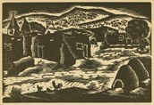 """Indian village"" Cochiti. 1937, Todros Geller. Linocut depicts the mission when briefly had a steeple in the early 20th-century. From Land to Land. From the Yiddish Book Center's Spielberg Digital Yiddish Library. Courtesy of Wikimedia Commons"