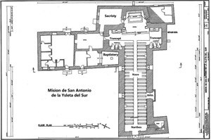 Plan of Mission Ysleta, now Our Lady of Mount Carmel Church