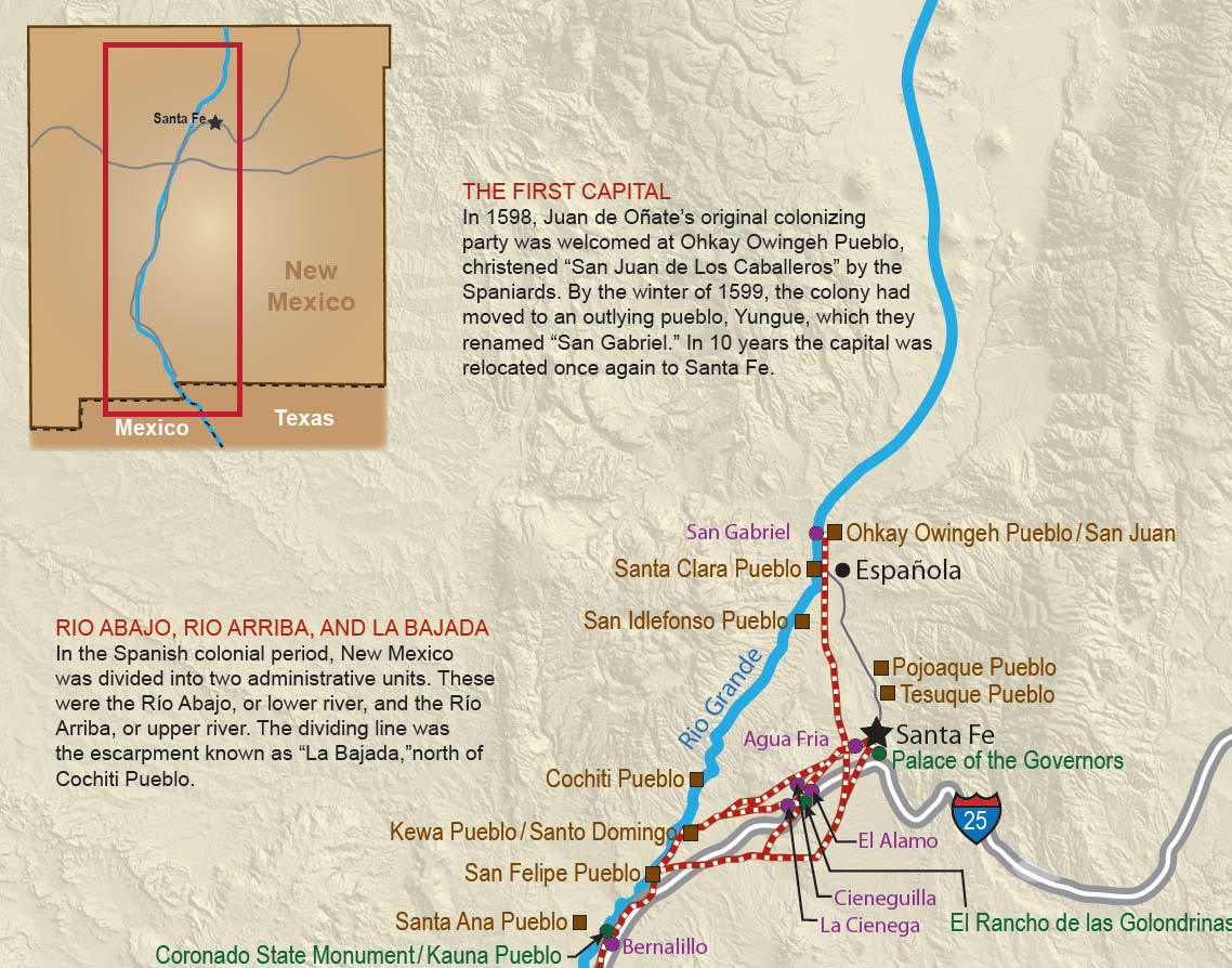 Pueblos New Mexico Map.San Gabriel Del Yunque Ouinge And San Miguel Spanish Missions