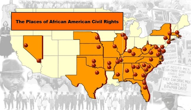 Screenshot of map of US with pinpoints of sites of African American civil rights.