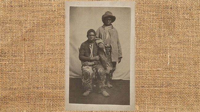 A photo of African American cotton field workers layered over a burlap texture.