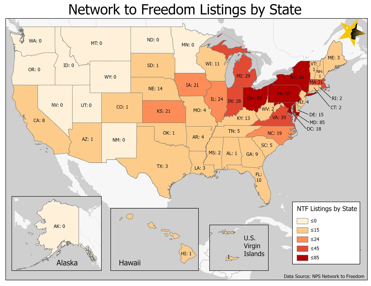A map showing the number of Network to Freedom listings by state.