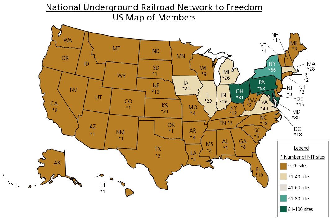 A map of the United States displaying numbers of Network to Freedom sites in each state and color coded, accordingly.