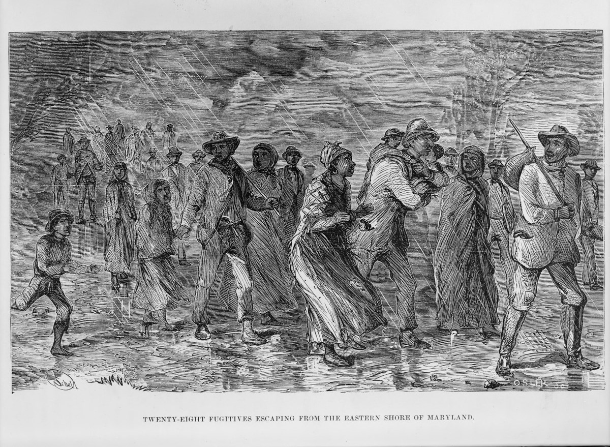 Fugitive slaves escape the Eastern Shore in Maryland with their families and any property they own.