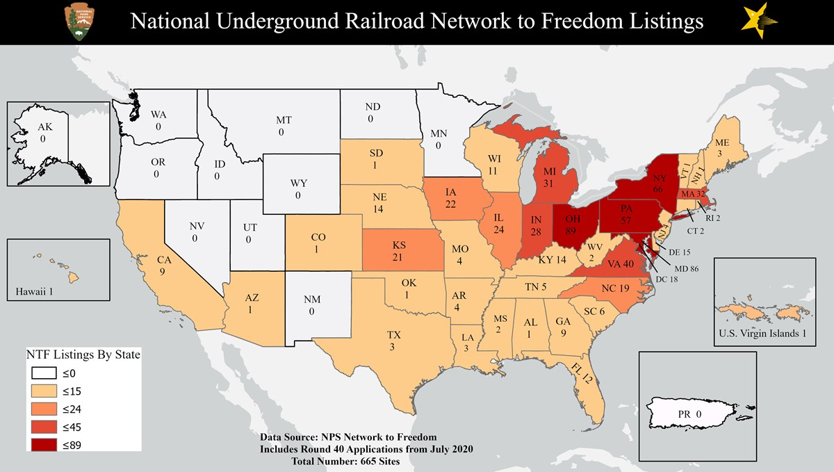 Map showing the numbers of Network to Freedom Listings by State.