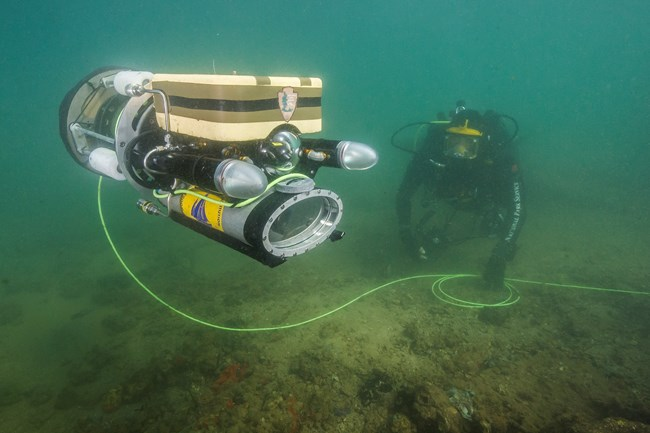 ROV Camera Descending into the USS Arizona