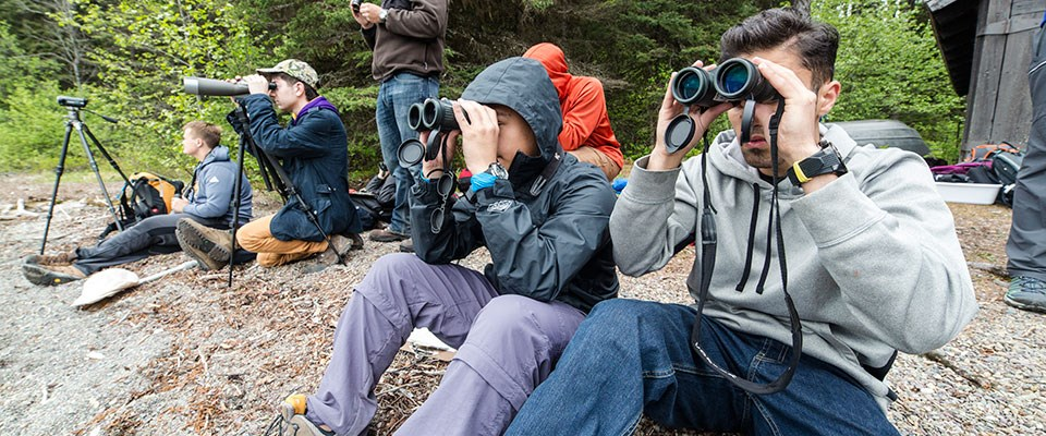 Visitors with binoculars