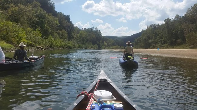 Paddlers make their way down the Buffalo National River.