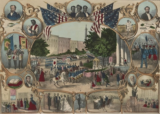 Parade surrounded by portraits of Black life, illustrating rights granted by the 15th amendment. Library of Congress.