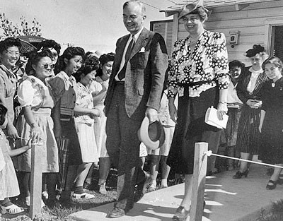 Mrs. Eleanor Roosevelt, accompanied by WRA National Director Dillon S. Myer, visits the Gila River Relocation Center.