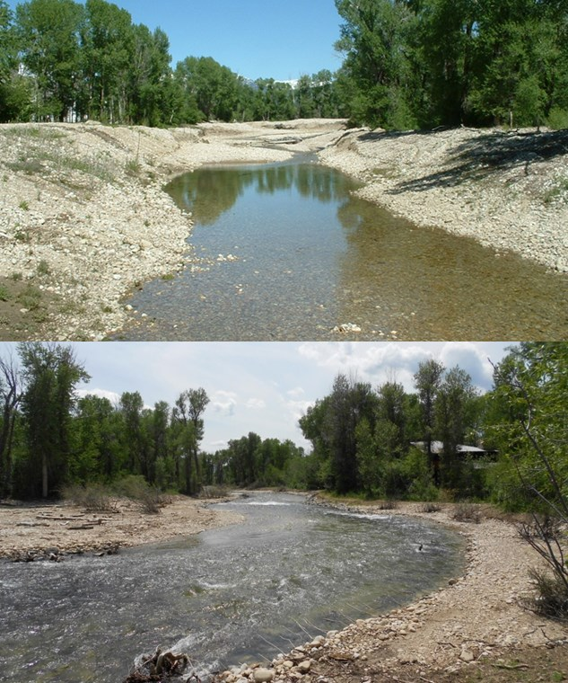 Restoration activity illustrated by two pictures of the same stream